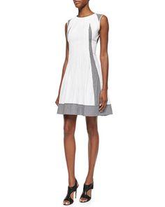 Solid/Gingham-Check Poplin Dress by Diane von Furstenberg at Bergdorf Goodman.