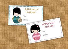 kokeshi gift tags