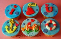 lovey fish Swim Party Cupcakes, Beach Cupcakes, Fun Cupcakes, Cupcake Party, Cupcakes Design, Summer Cakes, Polymer Clay Art, Pasta, Cake Toppers