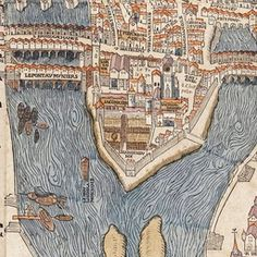 Paris circa 1150 under the reign of King Henry II of France. Created by Olivier Truschet and Germain Hoyau. Paris Map, Old Paris, Vintage Maps, Antique Maps, World History Lessons, Art History, Renaissance, Map Compass, Star Chart