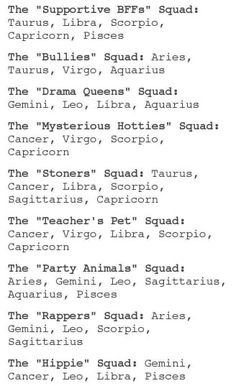 The signs as school stereotypes