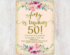 Birthday Floral Mint gold 30th birthday от InvitationsDigital