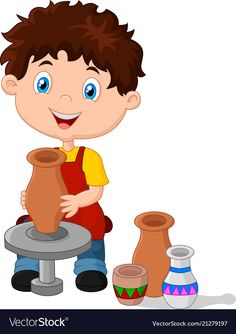 Little happy boy produced on potters wheel pot Vector Image