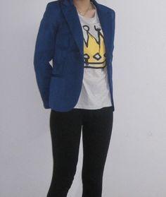 Blue Lapel Long Sleeve Single Button Blazer -SheIn(Sheinside)