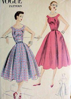 1950s  LOVELY FULL SKIRTED DRESS PATTERN VOGUE PATTERNS 7680