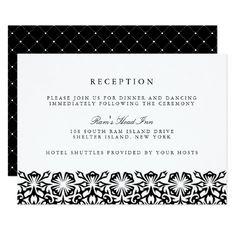 Santorini Wedding Reception Card | Black