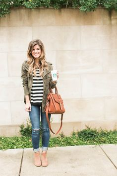 Cute Fall outfit idea - How to wear a green military jacket styled with black and white stripes, cognac booties and brown leather bag.