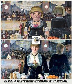 Un bar aux Folies Bergère - Édouard Manet vs. Art Pop, Tableaux Vivants, Playmobil Toys, Star Wars Personajes, Famous Artwork, Photoshop, Edouard Manet, Steampunk, Legos