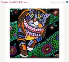 YIPEE 50% off- Cat Folk art Tile Ceramic Coaster Mexican Folk Art Print of painting by Heather Galler
