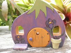 Wood Toy Habitat Whimsical Crocus-Magic Portal-Pretend by MomNmee