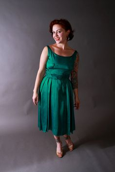 1950s Vintage Dress...Holiday Fashion Emerald Green Satin Late 50s Party Dress with Sash Detail