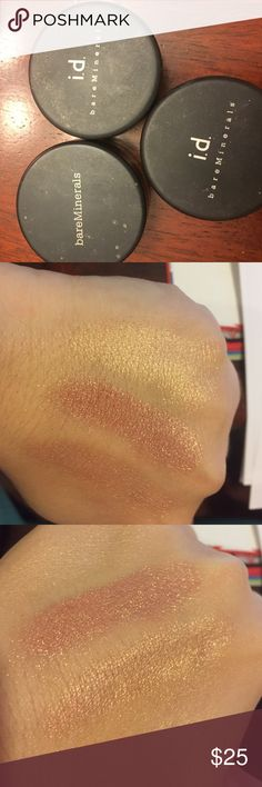 """Bare minerals all over face color bundle Includes """"flawless radiance"""" (light yellow gold), """"true"""" (shimmery rose gold), and """"pure radiance"""" (peachy champagne). All of these have been barely used. Tons of product left! Bare Escentuals Makeup Luminizer"""