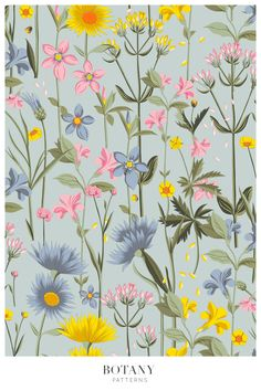 Vector Pattern, Pattern Design, Meadow Flowers, Pattern Illustration, Beautiful Patterns, Botany, Flower Prints, Textile Design, Print Patterns