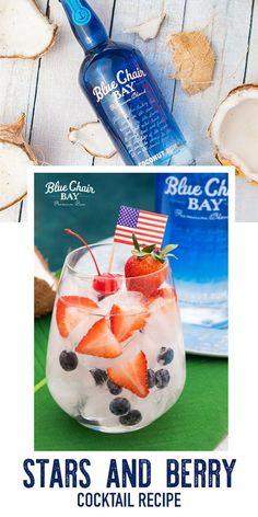 This coconut rum cocktail is perfect for any American holiday whether its Memorial Day, 4th of July or Labor Day. Stars and Berry Spritzer needs only one mixer and uses fresh strawberries and blueberries as a garnish. Click here for the full recipe. #bluechairbay #BCBHappyHour #coconutrum