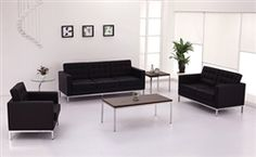 This contemporary office lounge features black leather tufted furniture with metal bases along with accent tables for a truly impressive look. This furniture set can be found at OfficeAnything.com in a variety of additional color options. #FurnitureSets #ContemporaryOffice