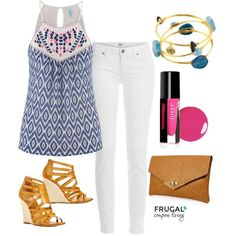 Summer isn't over and you can still wear the white jeans - check out our Frugal Fashion Friday Summer Outfit - polyvore layout, summer style!