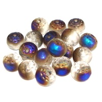 15 runde Glasperlen PFAUENAUGE Blue Iris AB   8mm *pe1411 - Böhmische Glasperlen - JAUL.biz