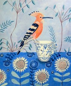 ARTFINDER: Hoopoe on a teacup by Mary Stubberfield - A beautiful hoopoe bird perched on a blue and white china mug with a patterned tablecloth and branches in the background. Mounted onto white board