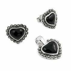 Sterling Silver Marcasite and Onyx Heart Set West Coast Jewelry. $22.95. Save 43% Off! Love Valentines, Marcasite, Types Of Metal, Free Gifts, Jewelry Sets, Cufflinks, Gemstone Rings, Pouch, Sterling Silver