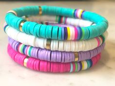 Excited to share the latest addition to my shop: Heishi Bracelet Multicolored Polymer Clay Women's Stretch Stackable Bracelets Polymer Clay Bracelet, Polymer Clay Beads, Beaded Jewelry, Beaded Bracelets, Making Bracelets, Paracord Bracelets, Diy Jewelry, Jewelry Making, Cute Friendship Bracelets