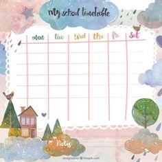 Fantasy school timetable Timetable Planner, Class Timetable, Timetable Template, Planner Template, Printable Planner, School Tool, Diy School, Planner Doodles, Memo Notepad