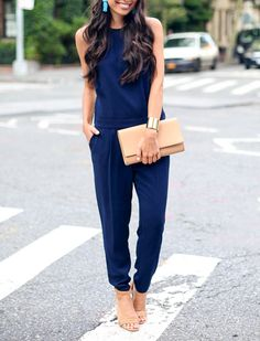 Proof That Jumpsuits Work on Any Body Type via @PureWow.....Want to minimize your thighs? Look to a solid-colored tapered pant that's a little roomy around the hip area and slims down at the ankle.   Read more: Proof That Jumpsuits Work on Any Body Type | PureWow National  Sign Up For PureWow's Daily Email