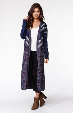 A PacSun.com Online Exclusive! The MinkPink Cottage Point Cardigan is a full length maxi cardigan with a multi color knit. We love the warm cozy feel and colorfulness that make it a fun layering piece.