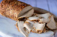 Vegan Deli Sliced TurKey Breast - Vegan Deli Sliced Turkey Breast made from vital wheat gluten and super firm tofu. Slices extra thin for perfect sandwiches. Sliced Roast Beef, Sliced Turkey, Vegan Foods, Vegan Dishes, Vegan Turkey, Seitan Recipes, Deli Ham, Vegan Roast, Breast Recipe