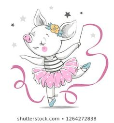 Vector illustration of a cute piggy ballerina in a pink tutu. Elephant Illustration, Cute Illustration, Tutu Rose, Pink Tutu, Ballerina Cartoon, Dibujos Baby Shower, Illustration Mignonne, Kids Cartoon Characters, Dance Crafts