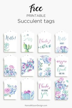 Printable succulent tags | free download | #freeprintables #giftwrapping #succulents #watercolorprintable #printablecards