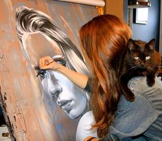Sandra Chevrier painting in her artist studio #workspace. #atelier…
