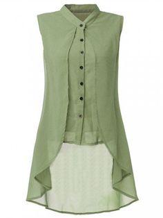 Women Sleeveless V Neck Button Pure Color Irregular Hem Chiffon Vest Long Blouse