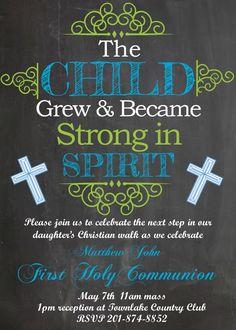 First Communion Party Invitations Chalkboard- Blue Boy