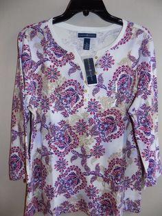 NEW Karen Scott size XL 3/4 bright azalea collection shirt top split neck NWT #KarenScott #Blouse #Gray