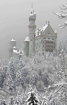 "SCHWANGAU, Germany: The ""fairy tale"" castle Neuschwanstein is seen 05 March 2006 in the snow covered landscape in Schwangau, Bavaria. Beautiful Castles, Beautiful Places, Monuments, Neuschwanstein Castle, Winter Images, Fairytale Castle, Medieval, Narnia, Cathedral"