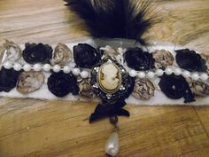 1920S Flapper Inspired Cameo Black Feathers by gypsycowgirlchic save 25% use code 25off at checkout!