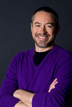 Robert Downey Jr ..wearing his favorite color purple/he's a new addition
