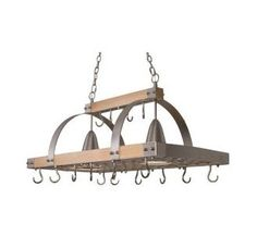 I really like pendant lights over an island and this combination pot rack is a neat idea.