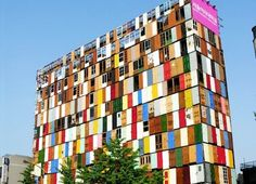 Building made of recycled doors. Seoul, S. Korea