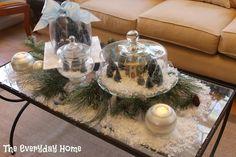 Christmas Home Tour from The Everyday Home: Christmas Wonderland under glass (cakeplates)