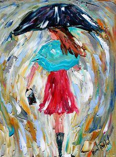 Original oil painting Umbrella Rain Girl modern by Karensfineart, $98.00
