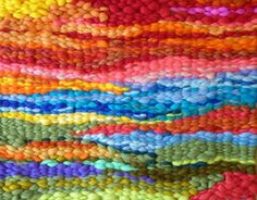 Peg loom weaving love the colours here using wool roving beautiful
