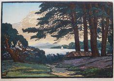 ✨ Karl Johne, Czech/Bohemian (1887-1959) - Am Heideteiche, rechts unten bez. 'Orig. Farbenholzschnitt' und signiert Karl Johne, Monogramm im Stock ::: Heather Lake, color woodcut