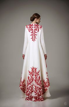 2016 new Haute Couture Caftan Special Occasion Dresses With Red Embroidery Robe White Long Sleeve Muslim Evening Dress