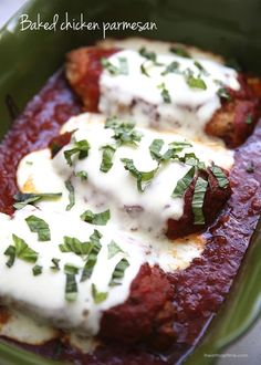 Easy baked chicken parmesan topped with fresh mozzarella and basil. A quick and easy meal your whole family will love!