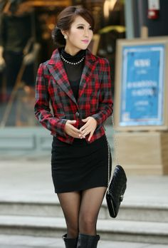 Grid, blazer, jacket, coat, office, lady, suit,  final, clearance, GHL0105, yrb, sale, style, yrbfashion, fashion, asian, korean, japanese,s...