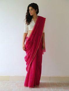 Crimson Gold Purple Mogra Chanderi & Zari By Raw Mango. Saree Draping Styles, Saree Styles, Ethnic Fashion, Indian Fashion, Trendy Fashion, Indian Dresses, Indian Outfits, Moda Indiana, Saree Jackets