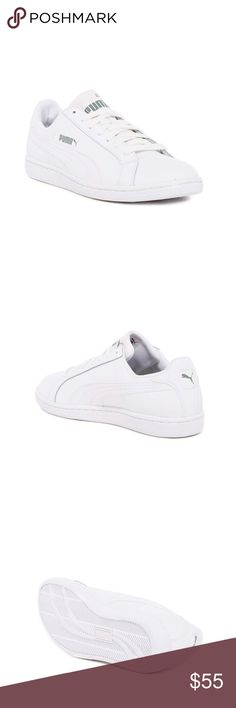 Puma White Smash Sneaker NIB Brand new in box. Puma white Smash Sneaker. A signature style with classic lines and side logo detail. Round toe, topstitching, lace up closure, lightly padded insole. Size 8. Genuine leather. ❌NO TRADES❌NO LOWBALLING❌ Puma Shoes Sneakers