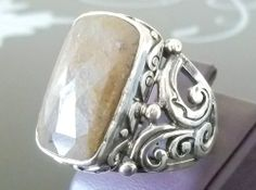 925 STERLING SILVER MEN'S RING WITH HANDMADE ABSOLUTELY REAL BROWN SAPPHIRE