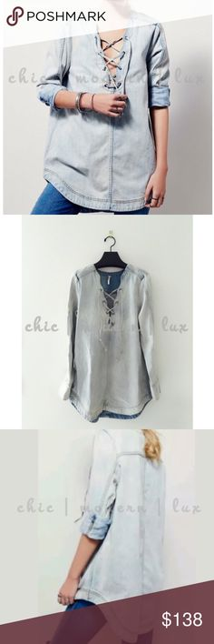 """HP🏆 Free People Denim Tunic Bohemian Vibe paired with gladiators 🏆Fall Preview Host Pick September 1, 2016 Free People lace up denim tunic and dress in one!  NWOT Measures Bust 22.5"""" • Length Pit to hem 25"""" • Full Length 32."""" • Actual Image #2 Free People Tops Tunics"""